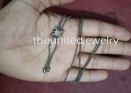 Star Pave Diamond 925 Sterling Silver Beads Adjustable Chain Slider Necklace