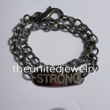 925 Sterling Silver Link Chain STRONG Alphabet Text Bracelet Jewelry