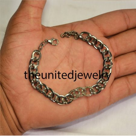 925 Sterling Silver Pave Diamond Link Chain Bracelet Jewelry