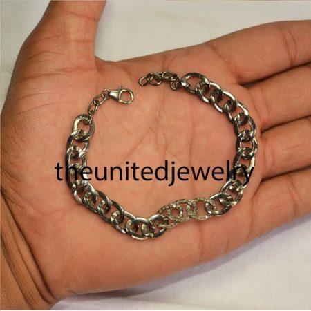 925 Sterling Silver Pave Diamond Link Chain Bracelet Jewelry