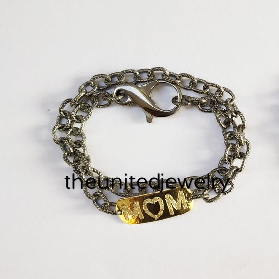 925 Sterling Silver Link Chain MOM Alphabet Text Bracelet Jewelry