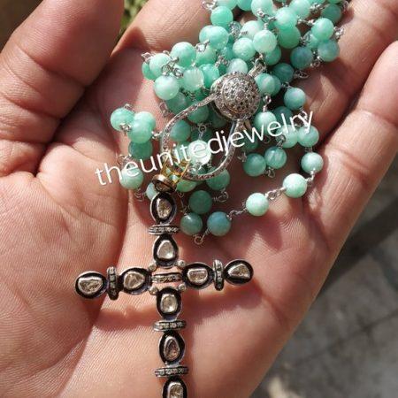 Amazonite Beads Line With Lobster Lock Polki Diamond Cross Necklace Jewelry
