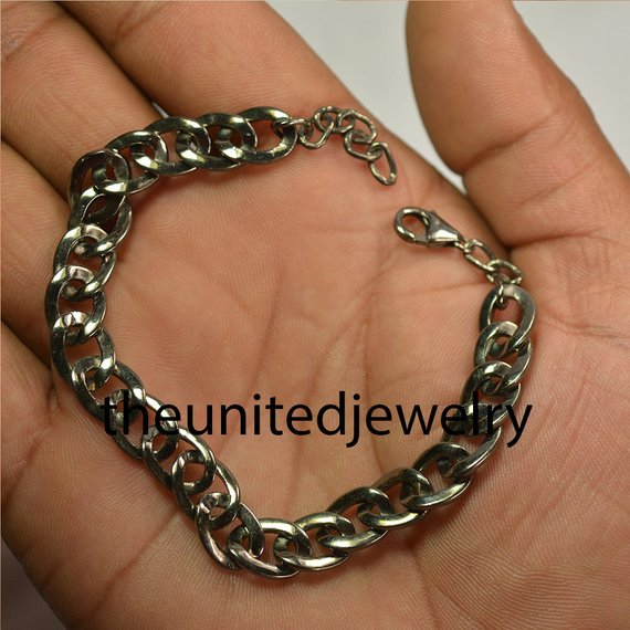 925 Sterling Silver Pave Diamond Link Chain Bracelet Jewelry925 Sterling Silver Pave Diamond Link Chain Bracelet Jewelry