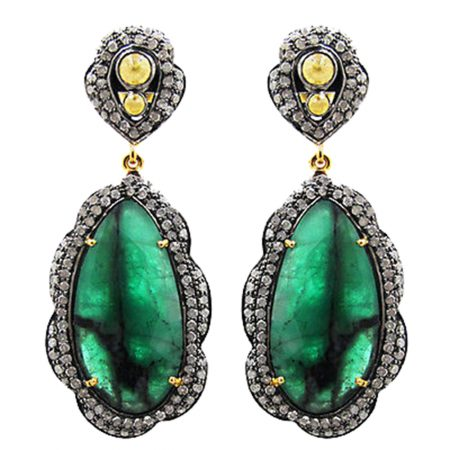 925 Silver Emerald Gemstone Dangle Earrings 3.46 ct Diamond Pave Jewelry