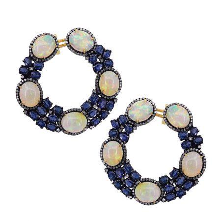 925 Silver OPal Hoop Earrings 2.09ct Diamond Sapphire Pave Fine Jewelry