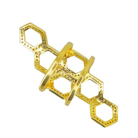 HEXAGON Shapes Cocktail Ring Pave Natural Diamond Fine Jewelry 7 WHOLESALE