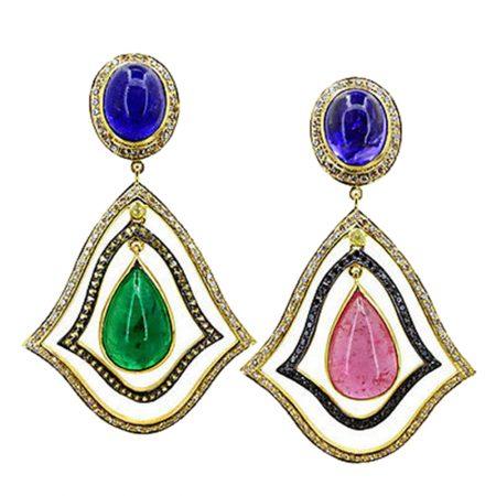 Pave Diamond Gemstone Emerald Tanzanite Tourmaline Dangle Earrings