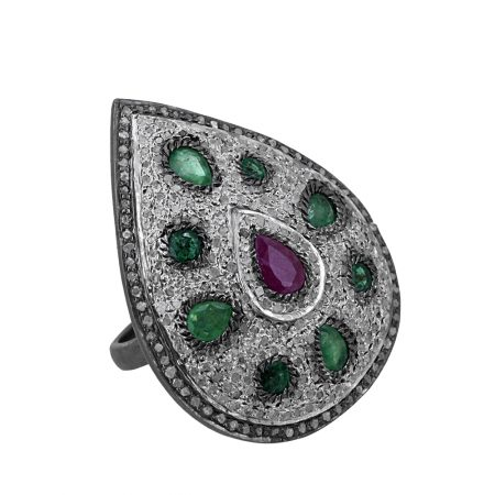 Real Diamond Pave Ruby Emerald Gemstone Pear Cocktail Ring 925 Sterling Silver