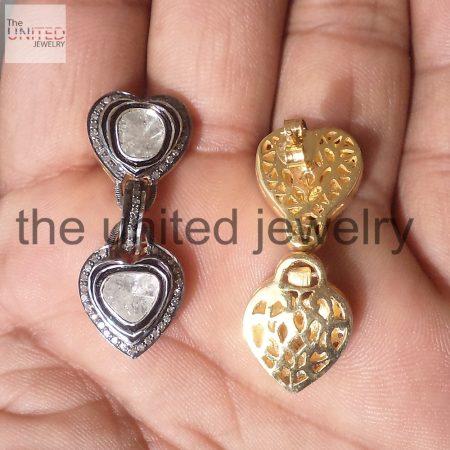 Pave Diamond Designer Heart Shape Sterling Silver Polki Earrings
