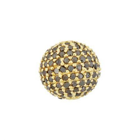14K Gold Pave Black Diamond Round Ball Bead Finding Jewelry