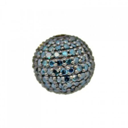 925 Sterling silver Gold Pave Blue Diamond Round Ball Bead Jewelry