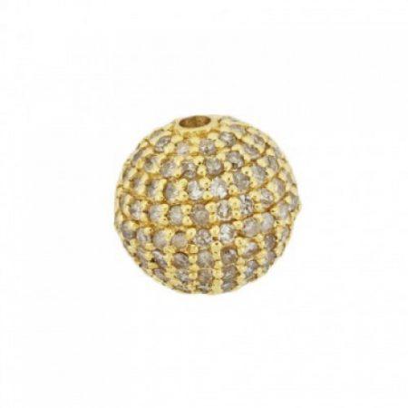14K Gold Pave Champagne Diamond Round Ball Bead Jewelry