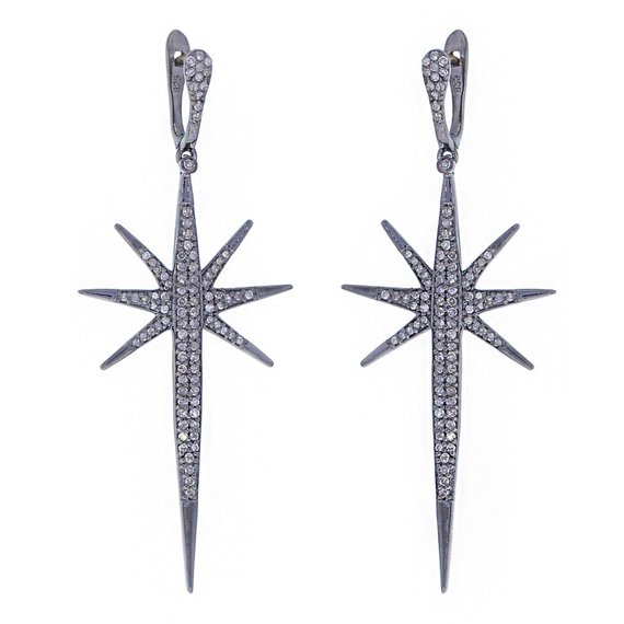 0.99cts Pave Diamond 925 Silver Gold Drop/Dangle Earrings Jewelry