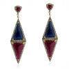 Ruby Sapphire Pave Diamond Dangle Earrings Gold Silver Handmade Jewelry