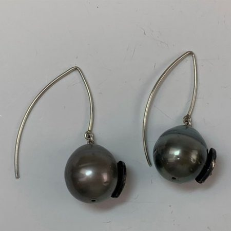 925 Sterling Silver Pave Diamond Pearl Earrings Jewelry