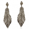 Handmade 925 Sterling Silver Pave Diamond Feather Leaf Earrings Fine Jewelry