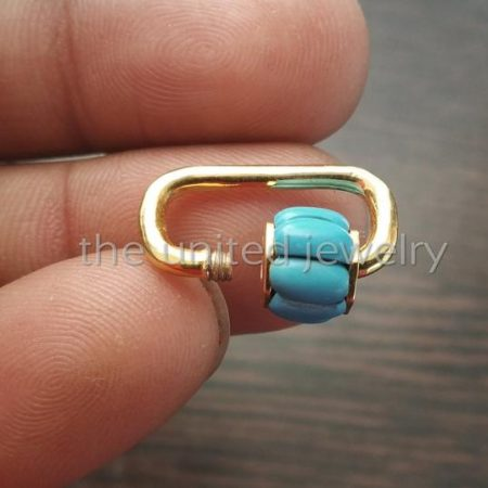 20mm Best Selling Yellow Gold Plating Solid Sterling Silver Turquoise Mini Carabiner Lock, Handmade Carabiner Lock Jewelry