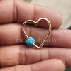 25mm Heart Shape Best Selling Rose Gold Plating Solid Sterling Silver TurquoiseHeart Carabiner Lock, Handmade Carabiner Lock Jewelry