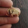 925 Sterling Silver Handmade Designer Elephant Pave Diamond Elephant Necklace Pendant Charms Jewelry