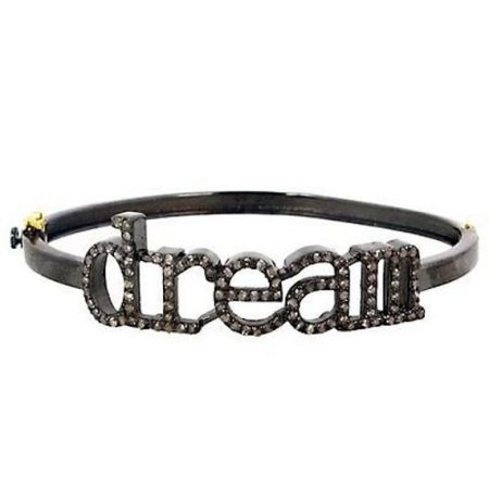 Pave 925 Sterling Silver Dream Bracelet Bangle Designer Jewelry