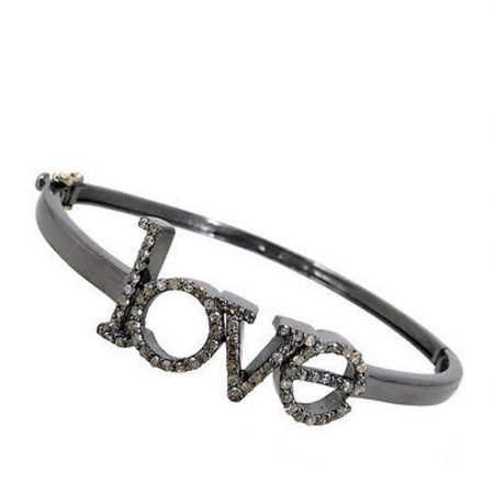 Pave Diamond LOVE 925 Silver Valentine's Day Bangle Bracelet Jewelry