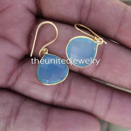 925 Sterling Silver Chalcedony Earrings Jewelry
