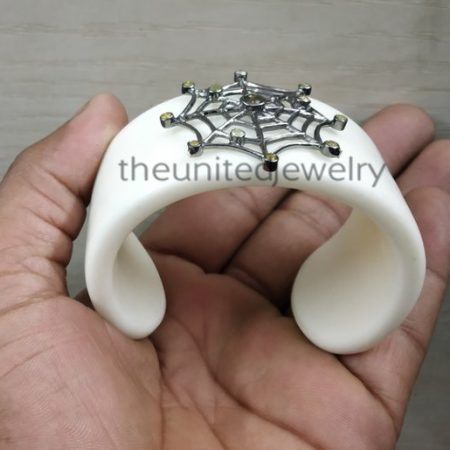 Designer White Bakelite Spiderweb Sterling Silver GemstoneCuff Bangle, White Bakelite Cuff Bangle