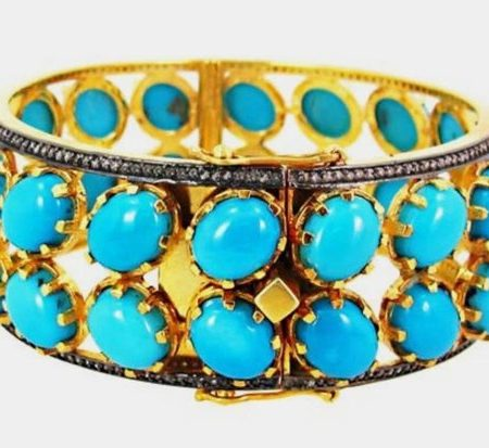 925 Sterling Silver Natural Pave Diamond With Turquoise Gemstone Designer Bangle Fine Jewelry