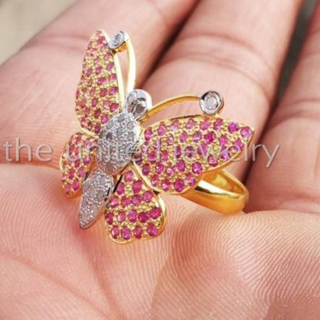 14k Gold Designer Ruby With Natural Pave Diamond Butterfly Ring Sterling Silver Butterfly Fine Ring Jewelry For The United Jewelry Wholesale
