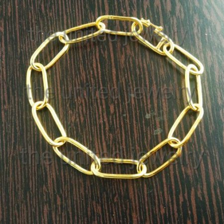 14k Gold Flat Drawn Cable Link Chain Designer Women's Sterling Silver Bracelet Jewelry