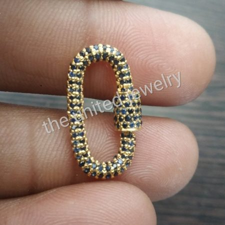 Best Quality Natural Blue Sapphire Sterling Silver 25mm Carabiner Lock, Handmade Carabiner Lock For Bracelet Necklace Jewelry