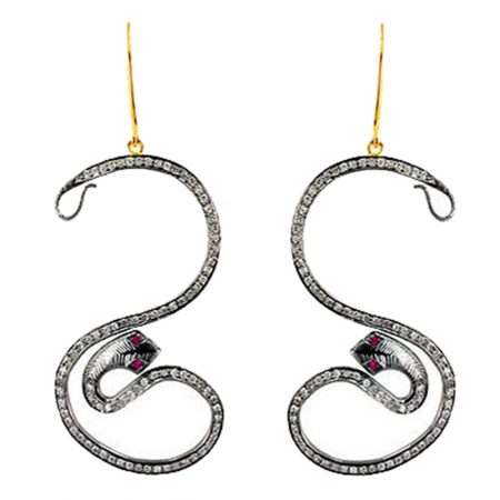 925 Sterling Silver Diamond Pave Snake Long Hook Earrings Fine Jewelry Wholesale