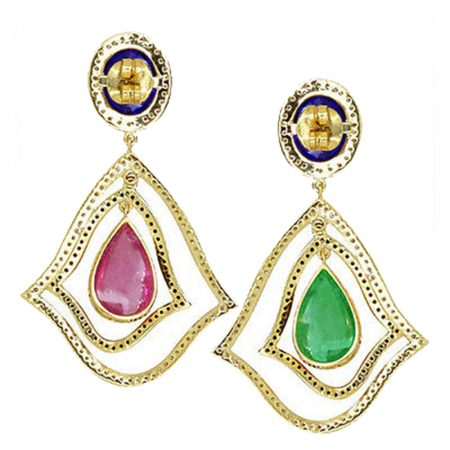 Fine Pave Diamond Gemstone Emerald Tanzanite Tourmaline Dangle Earrings WHOLESALE