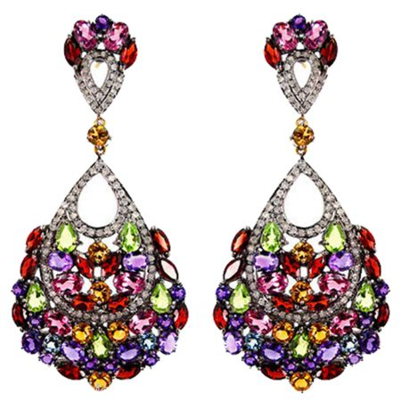 Multi Gemstone 925 Sterling Silver Pave Diamond Dangle Earrings Jewelry Manufacturer