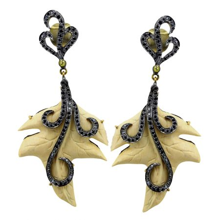Black Diamond Pave Sterling Silver GRAPE LEAVES Carved Dangle Earrings Wholesale