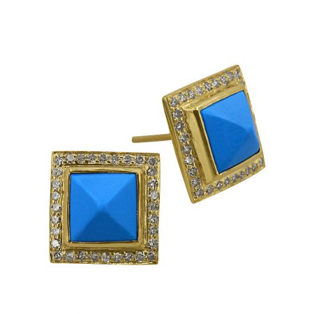 Diamond Pave 3.96ct Turquoise Gemstone Designer Square Stud Earrings Wholesale