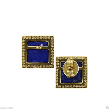 Pave Diamond Lapis Gemstone Square Design Pyramid Stud Earrings Supplier