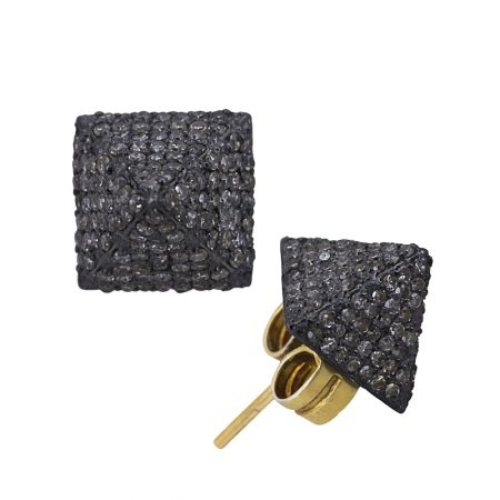PYRAMID Design Sterling Silver Pave Diamond Stud Earrings Vintage Style Wholesale
