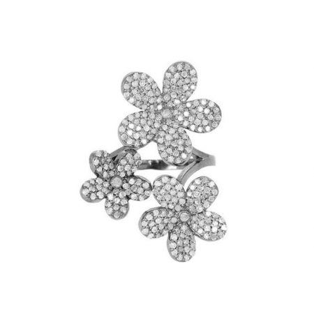 925 Silver Flower Ring Pave Diamond Vintage Style Jewelry