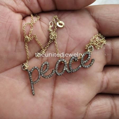Gold Plated Sterling Silver Pave Diamond Peace Necklace Pendant Jewelry