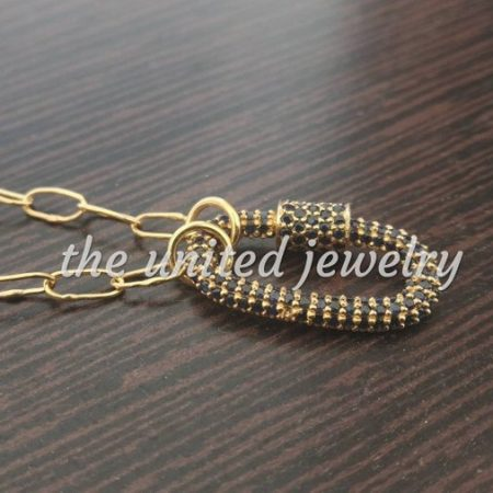 14k Yellow Solid Gold Link Chain Gold With Blue Sapphire Mini 20mm Carabiner Baby Lock Handmade Chain Necklace Gold Jewelry Wholesale