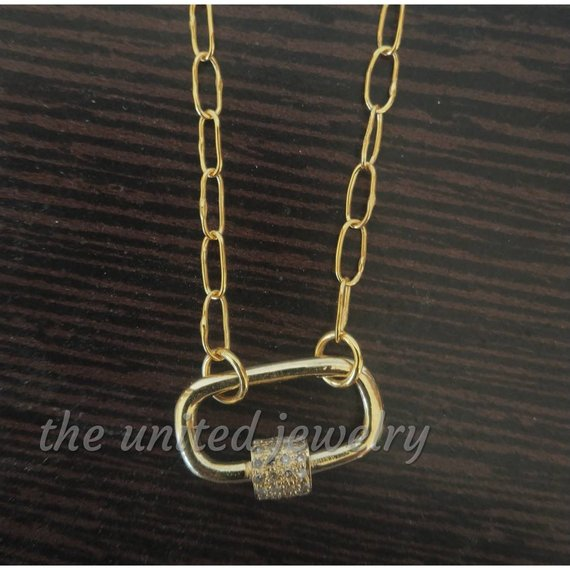 14k Yellow Solid Gold Link Chain Gold With Natural Pave Diamond Mini 20mm Carabiner Baby Lock Handmade Chain Necklace Gold Jewelry Wholesale