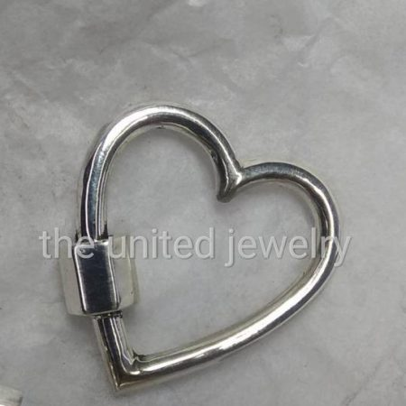14k Gold 30 mm Heart Shape 925 Sterling Silver Handmade Carabiner Lockiton Pendant Necklace Lock Jewelry