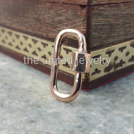 20 mm Rose Gold Sterling Silver Designer Carabiner Lock Bracelet Pendant Necklace Lock Fine Clasp Jewelry