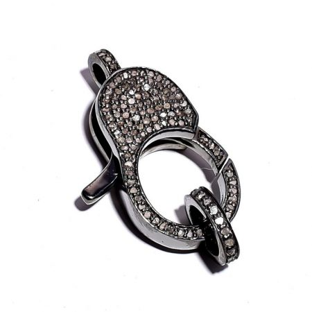 Both SidePave Diamond Clasp, Pave And white diamond Lobster, Pave 925 sterling silver Clasp , diamond Lobster, Pave Diamond