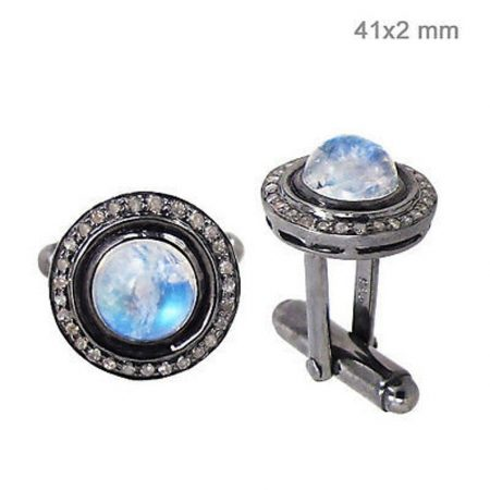 Rainbow Moonstone Cufflinks Diamond Pave Sterling Silver Men's jewelry