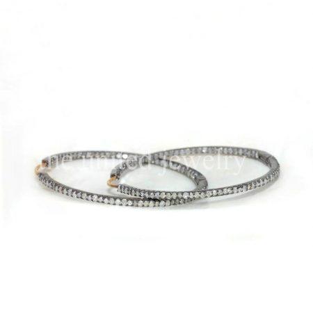14k Gold Diamond Hoop Earrings, 925 Sterling Silver Hoop Earrings, Big Hoop Earrings, Hoop Earrings