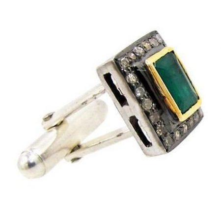 Emerald Gemstone Natural Diamond Cufflinks Fashion 925 Sterling Silver Jewelry