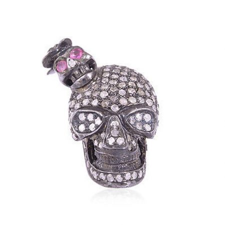 Pave Diamond Skull 925 Sterling Silver Cufflinks Jewelry