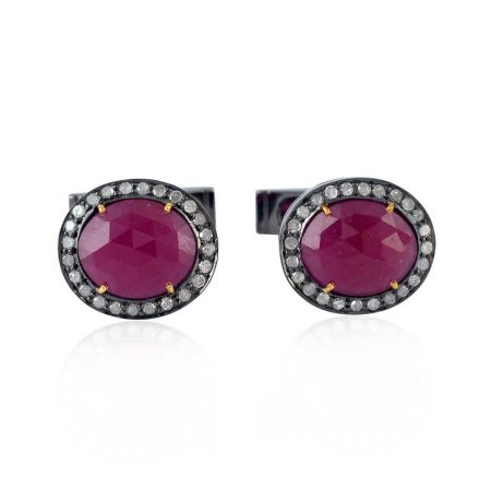 Ruby Gemstone 925 Sterling Silver Pave Diamond Designer Cufflinks Jewelry